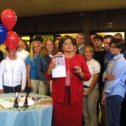 File - During a birthday party for seniors at Skyline High School, Lt. Governor Olene Walker launches a program aimed at encouraging 18-year-olds to register to vote.