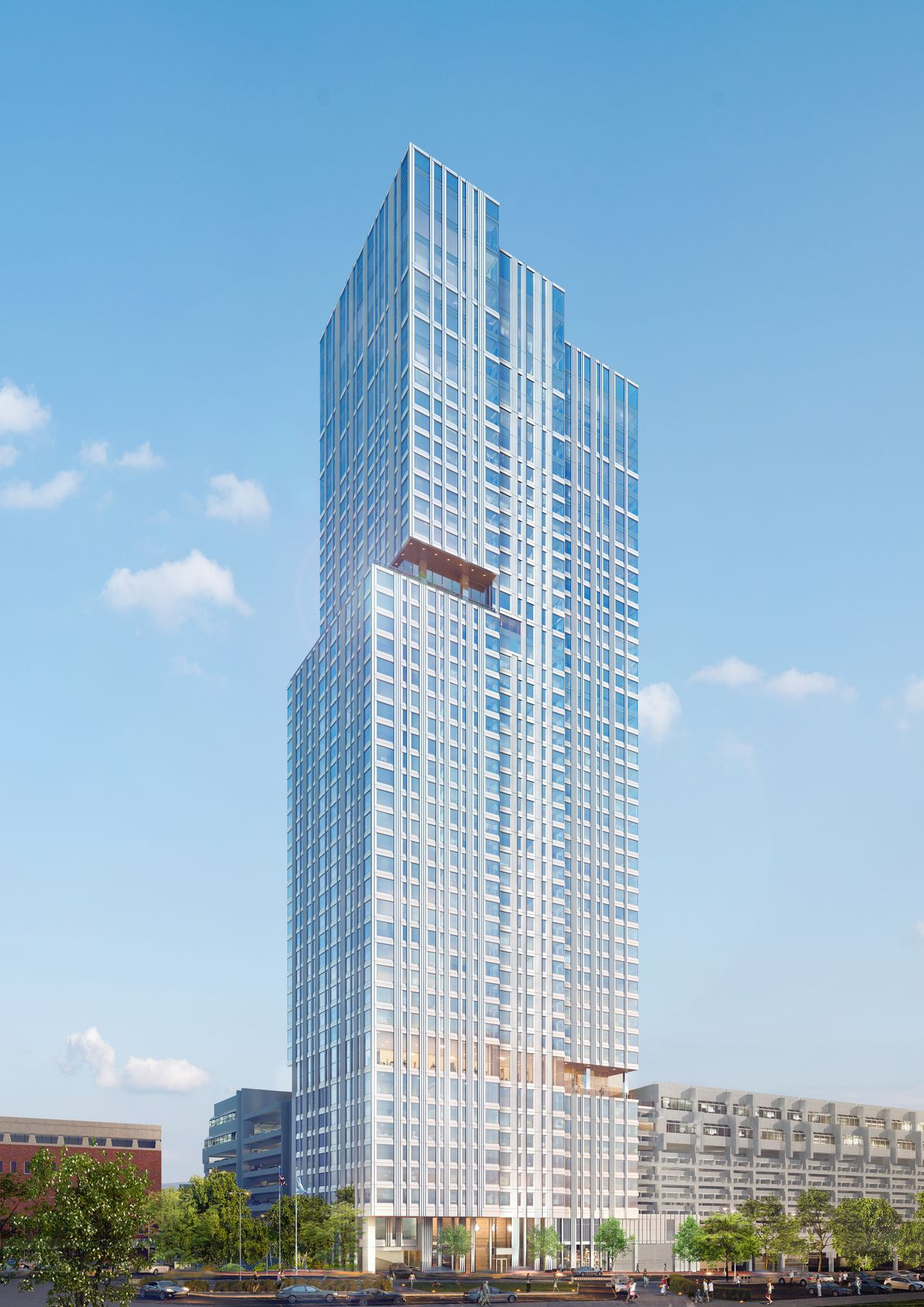 Rendering of a 46-story, glassy tower.