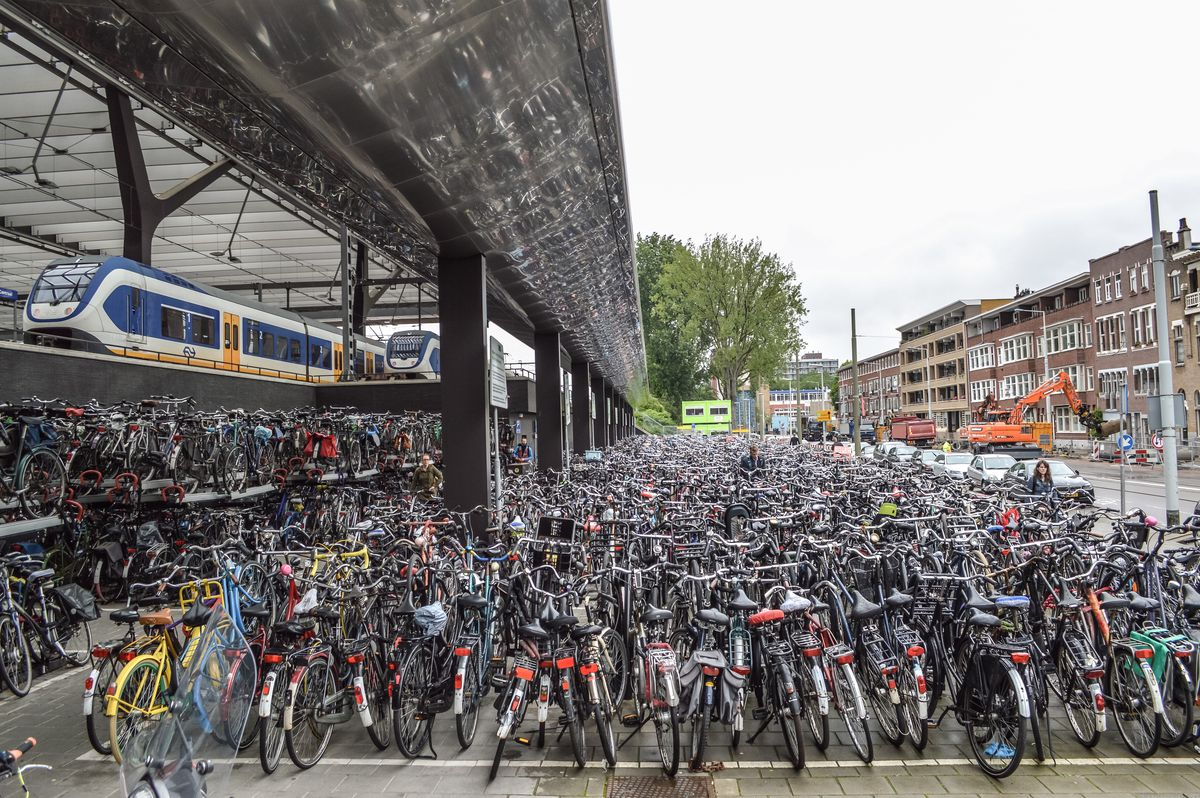 Dutch bike parking.