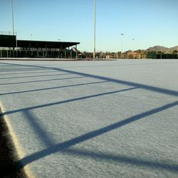 """""""No, that's not a tarp. It's a baseball diamond covered in snow this morning here at #Dbacks @SaltRiverFields"""""""