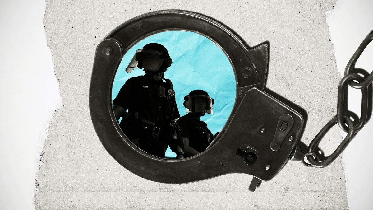 An illustration  showing police officers framed inside the circle of a handcuff.