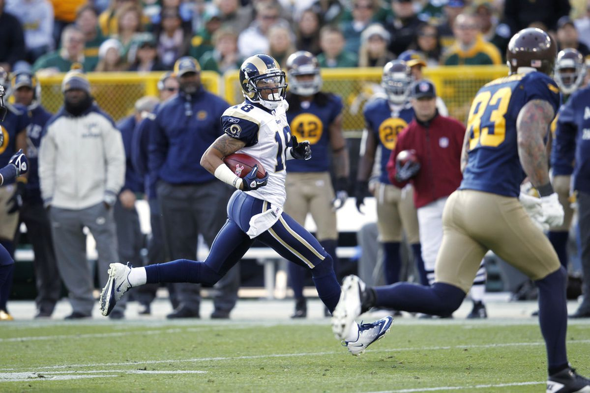 GREEN BAY, WI - OCTOBER 16: Austin Pettis #18 of the St. Louis Rams returns a punt during the game against the Green Bay Packers at Lambeau Field on October 16, 2011 in Green Bay, Wisconsin. The Packers won 24-3. (Photo by Joe Robbins/Getty Images)