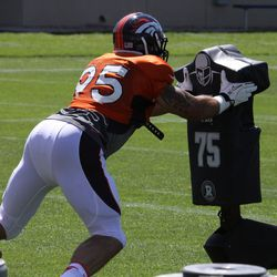 Broncos DE Derek Wolfe takes his turn at the sled