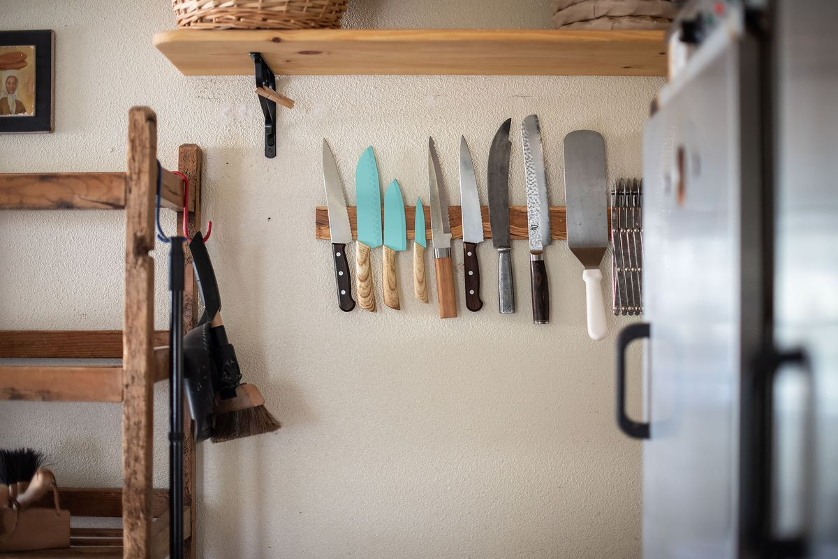 Knives and other tools ready for work inside a bakery.