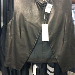 Public School leather top, size M, $398