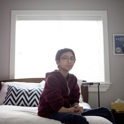 Noah Chesler, an eighth-grader at Wasatch Junior High School, is pictured in his home in Salt Lake City on Tuesday, Feb. 9, 2016. Noah underwent a bone marrow transplant in March 2010 After the surgery, Noah was immunocompromised for two years. Just when he was about to start school again in 2011, a measles outbreak hit Granite School District and he had to be pulled back.