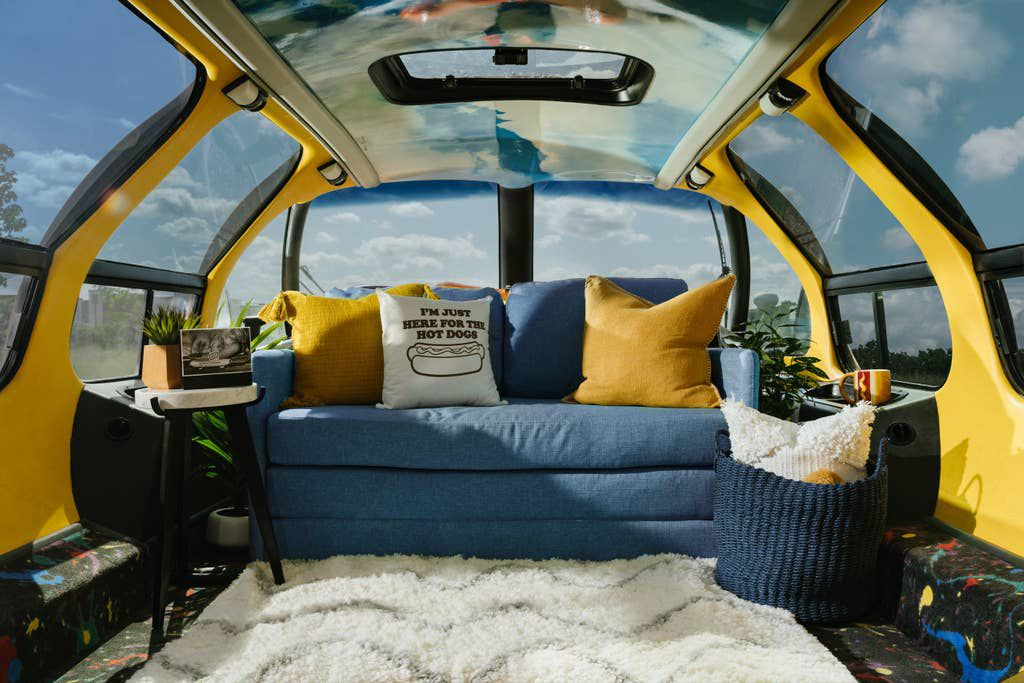 Couch inside vehicle