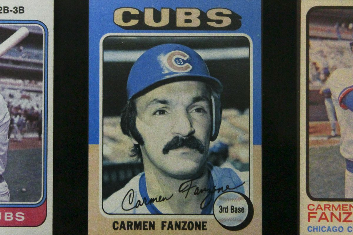 Cards framed of from former Major League Baseball Chicago Cubs player Carmen Fanzone (CQ) framed in