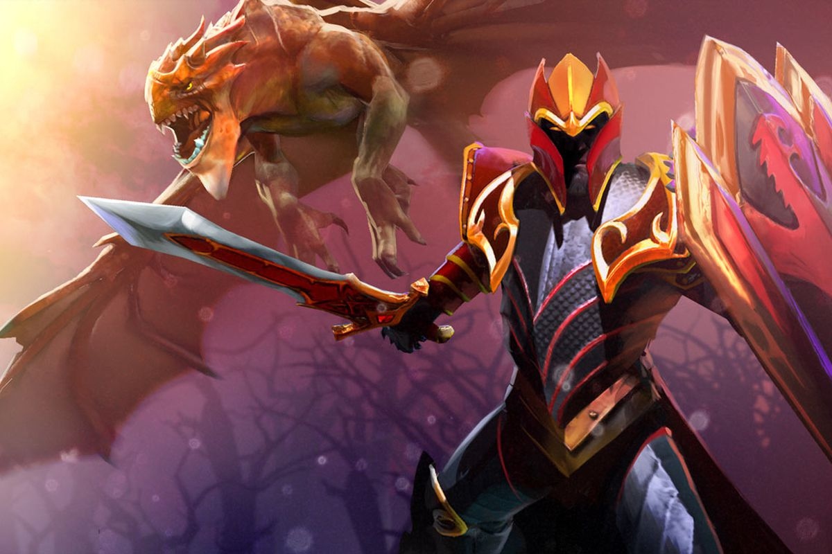 A Dota 2 character with a sword and a dragon