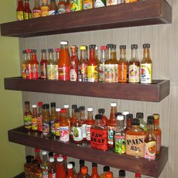 Hot sauces at The Gold Spike Grill