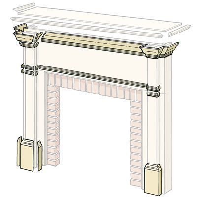 Illustration of the fireplace mantel trim.