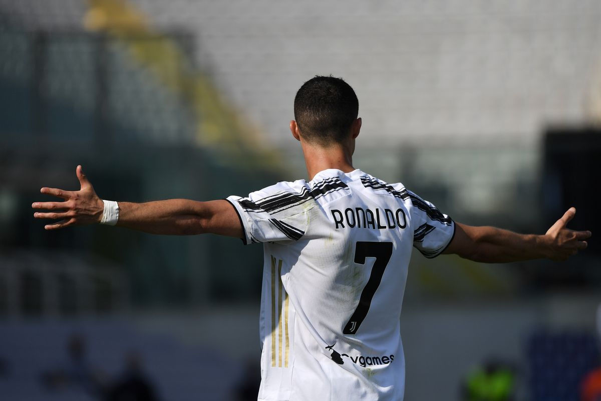 Cristiano Ronaldo of Juventus FC reacts during the Serie A...