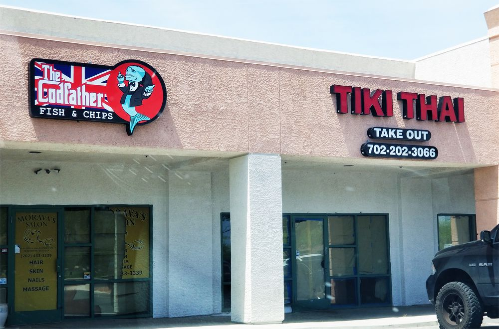 The exterior of The Codfather fish & chip shop and Tiki Thai, both on the way to Henderson.