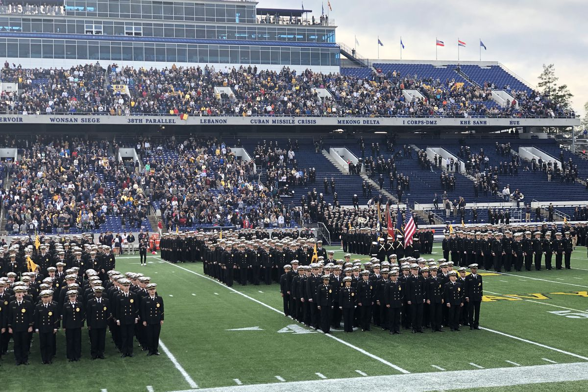 The Midshipmen in formation at Navy-Marine Corps Stadium before their game with South Florida on October 19th, 2019