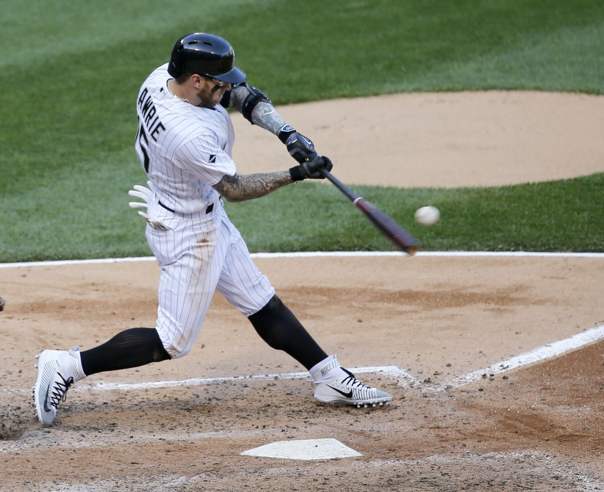 <em>Brett Lawrie launches a three-run home run off Cleveland Indians starting pitcher Mike Clevinger, also scoring Todd Frazier and Melky Cabrera, during the fifth inning. (AP Photo/Charles Rex Arbogast)</em>