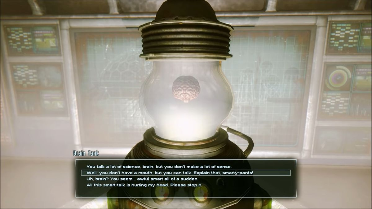 A brain talks without a mouth in Fallout: New Vegas