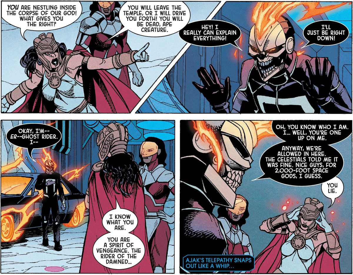 Ajak the eternal argues with Ghost Rider about how the Avengers are using a Celestial's corpse as their home base in Eternals: Celestia (2021).