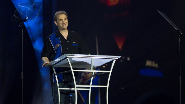 Mike Morhaime, then the president and CEO of Blizzard Entertainment, speaks at BlizzCon 2017.