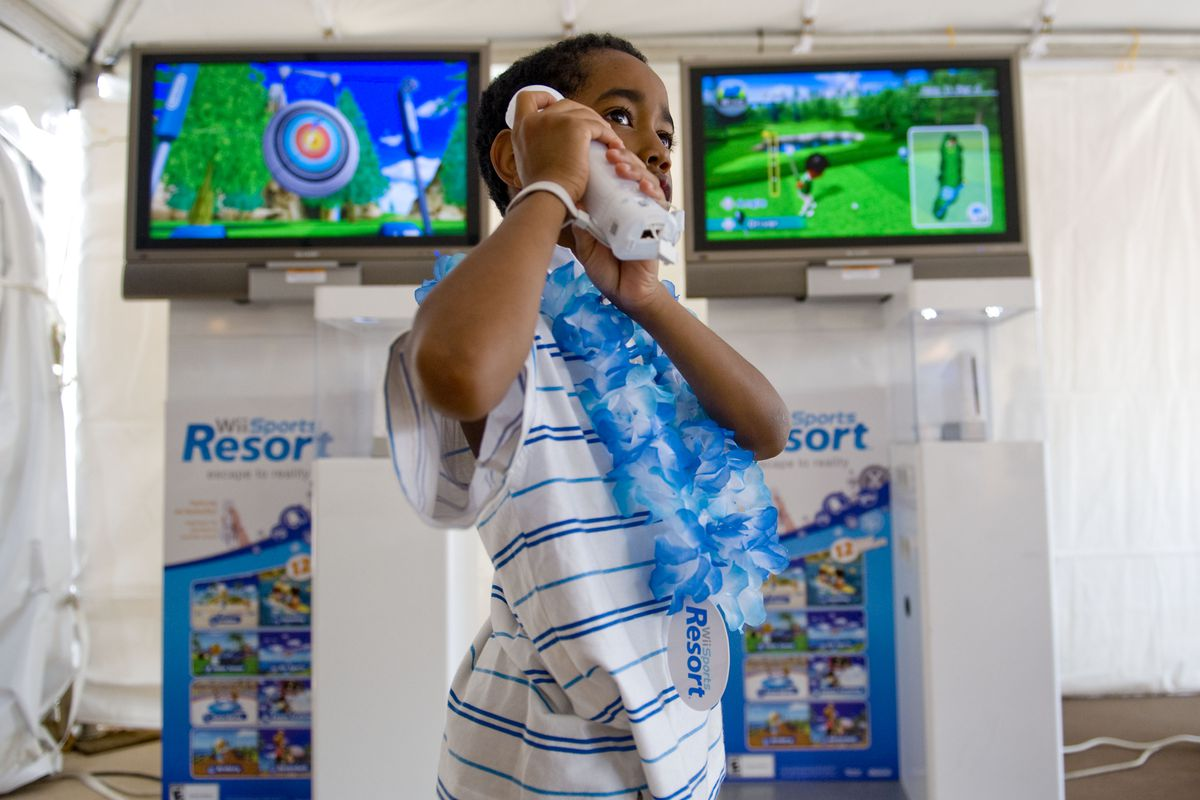 July 24, 2009 -- Wii Sports Resort--Matthew Jagdeo tries out the new Wii Sports Resort game which wa
