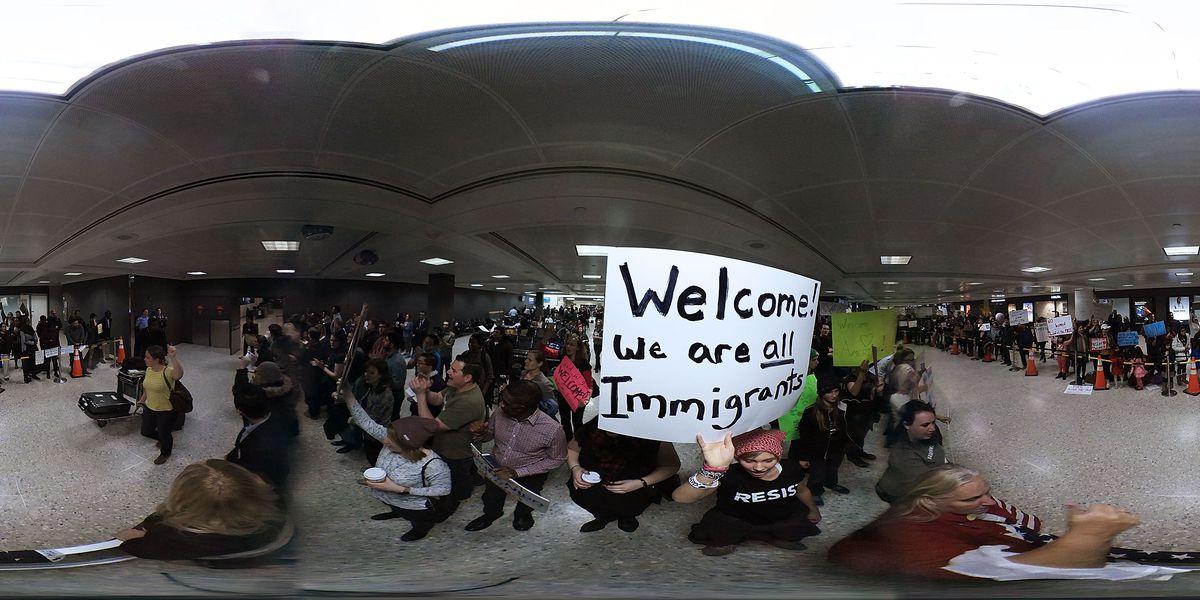 Demonstrators Protest At Dulles International Airport Against Muslim Immigration Ban