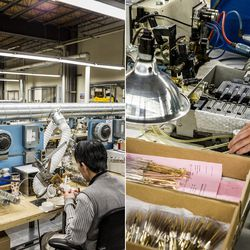 Everyone on the production line knows how to work each station, resulting in highly trained workers (of mostly Polish and Vietnamese descent) completing 200 hand-crafted steps to manufacture each pair of eyewear, including soldering the eyes, installing t