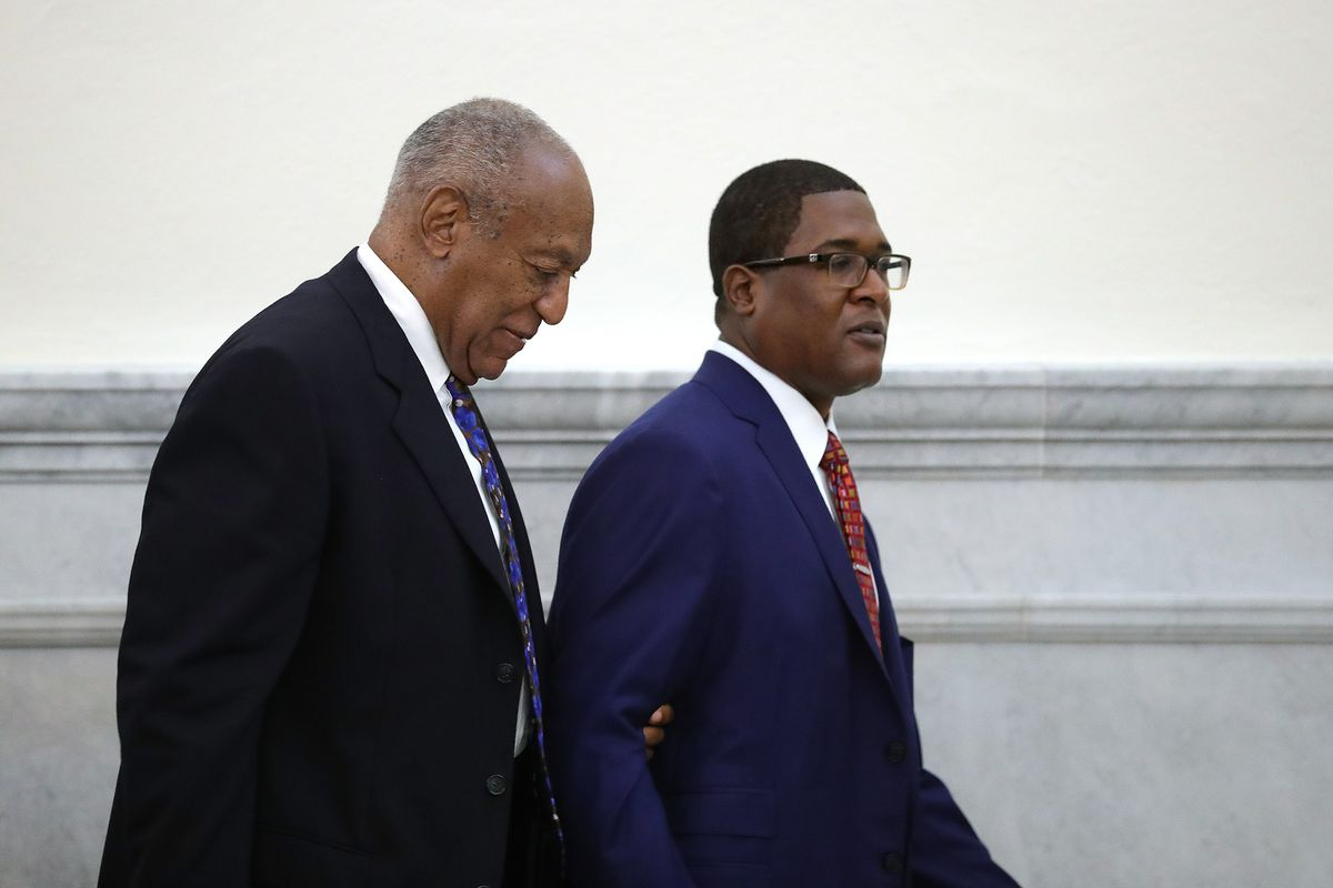Bill Cosby and spokesman Andrew Wyatt during day 1 of Cosby's sentencing hearing on September 24, 2018.