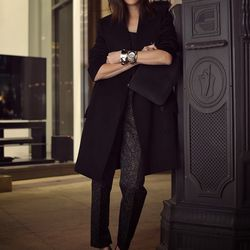 """Jayne of <a href=""""http://www.stopitrightnow.com""""target=""""_blank"""">Stop It Right Now</a> is wearing a Zara shirt and heels, a The Row coat, Theory trousers, a Mansur Gavriel large wallet and a <a href=""""http://www.nixon.com/sg/en/womens/watches/the-monopoly-A"""