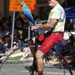A man and his parrot perform as spectators watch the floats, horses and celebrities participate in the Days of '47 Parade in Salt Lake City Saturday.