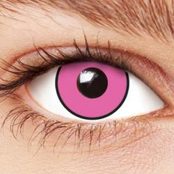 These contact lenses are horrifying, and freaky-similar to the opaque pink that defines Blossom's iris.
