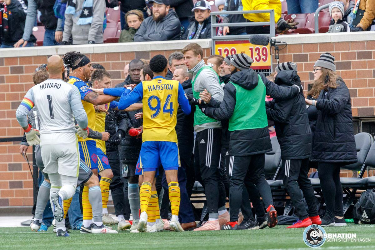 October 13, 2018 - Minneapolis, Minnesota, United States - A melee erupts after Colorado scores a late goal in stoppage time and celebrates in front of the Loons' bench during the Minnesota United vs Colorado Rapids match at TCF Bank Stadium.