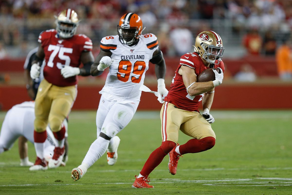 Kyle Juszczyk of the San Francisco 49ers runs the ball against the Cleveland Browns in the third quarter at Levi's Stadium on October 07, 2019 in Santa Clara, California.