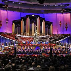 The Mormon Tabernacle Choir, singer Natalie Cole and author David McCullough perform at the annual Christmas concert Friday at the Conference Center.