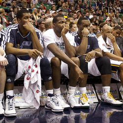 The Jazz bench looks on dejectedly during the second half of the NBA basketball game between the Utah Jazz and the Golden State Warriors at Energy Solutions Arena, Wednesday, Dec. 26, 2012.
