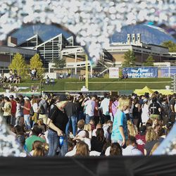 Crowds gather for the LoveLoud Festival at Utah Valley University in Orem on Saturday, Aug. 26, 2017.