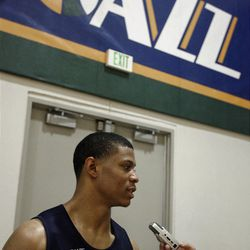 Scott Machado speaks to reporters during practice with the Utah Jazz at the Zions Bank Basketball Center in Salt Lake City on Friday, June 22, 2012.