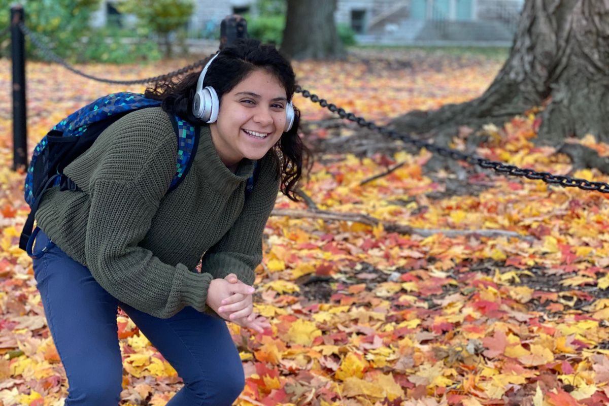 Cristal Caballero, a 20-year-old junior at University of Illinois at Urbana-Champaign, poses on campus shortly after arriving for the school's fall semester.