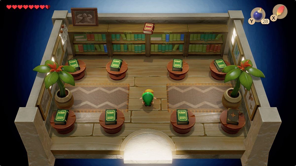 Link's Awakening Mabe Village library book with instructions about how to enter the Color Dungeon