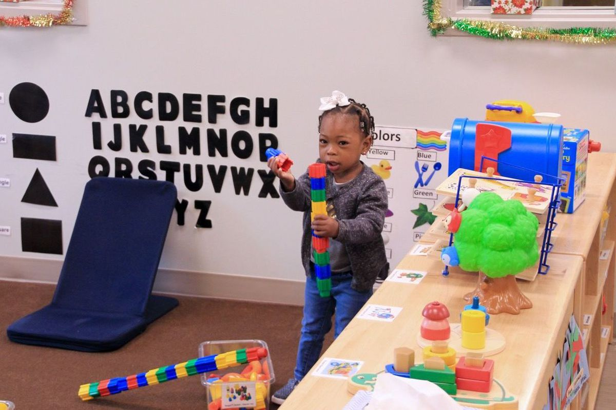 A pre-K student plays with blocks at the Porter-Leath Early Childhood Center in South Memphis.