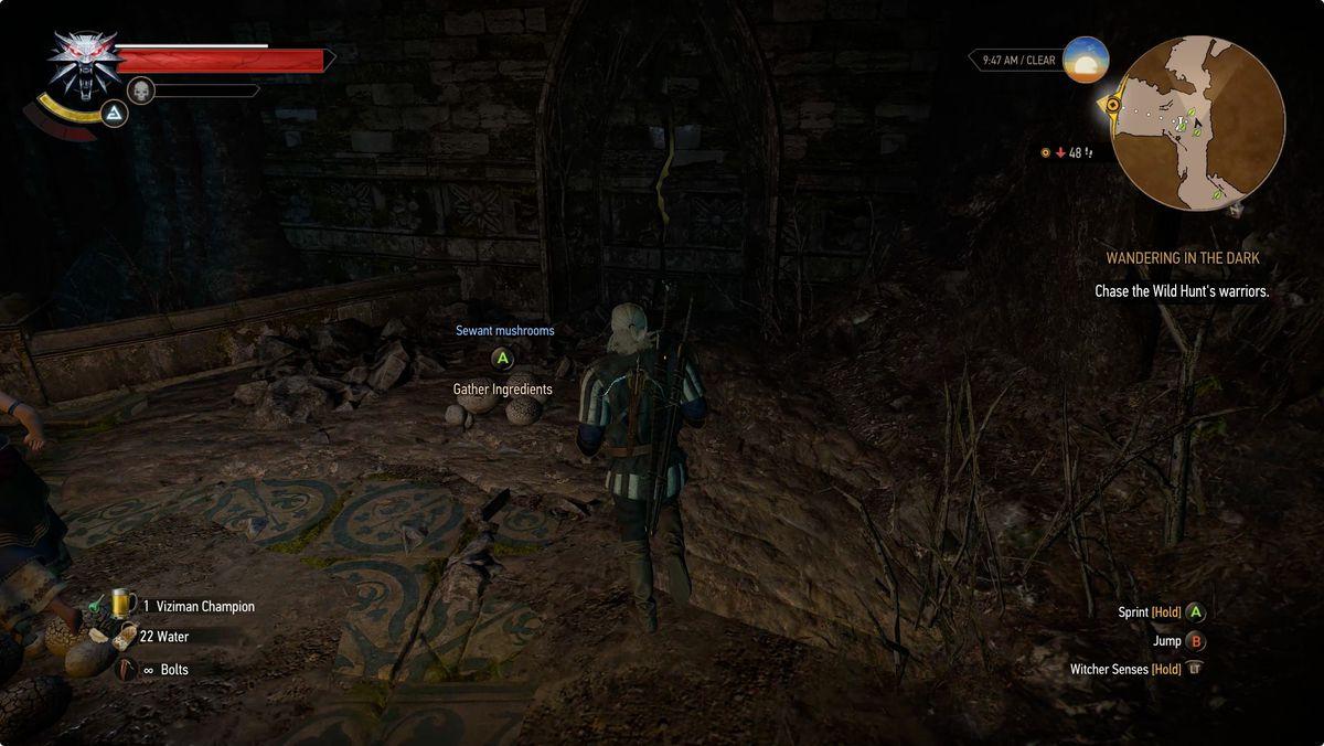 Witcher 3 Wandering in the Dark cracked wall gargoyle