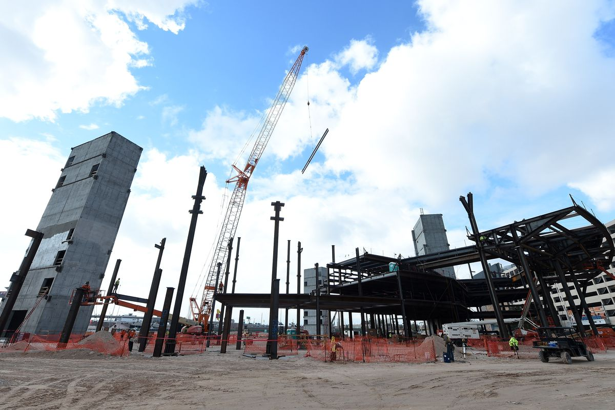 A photo form December 2014 of the under-construction arena in Las Vegas. LV has a bid in for a new NHL team.