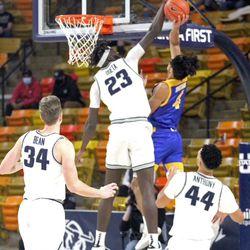 Utah State center Neemias Queta (23) blocks a shot by Sebastian Mendoza during USU's 85-52 win over San Jose State on Wednesday, Dec. 23, 2020, at the Spectrum in Logan.