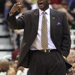 Utah Jazz coach Tyrone Corbin directs his team during the second half of an NBA basketball game against the Phoenix Suns on Wednesday, April 4, 2012, in Salt Lake City. The Suns won 107-105.