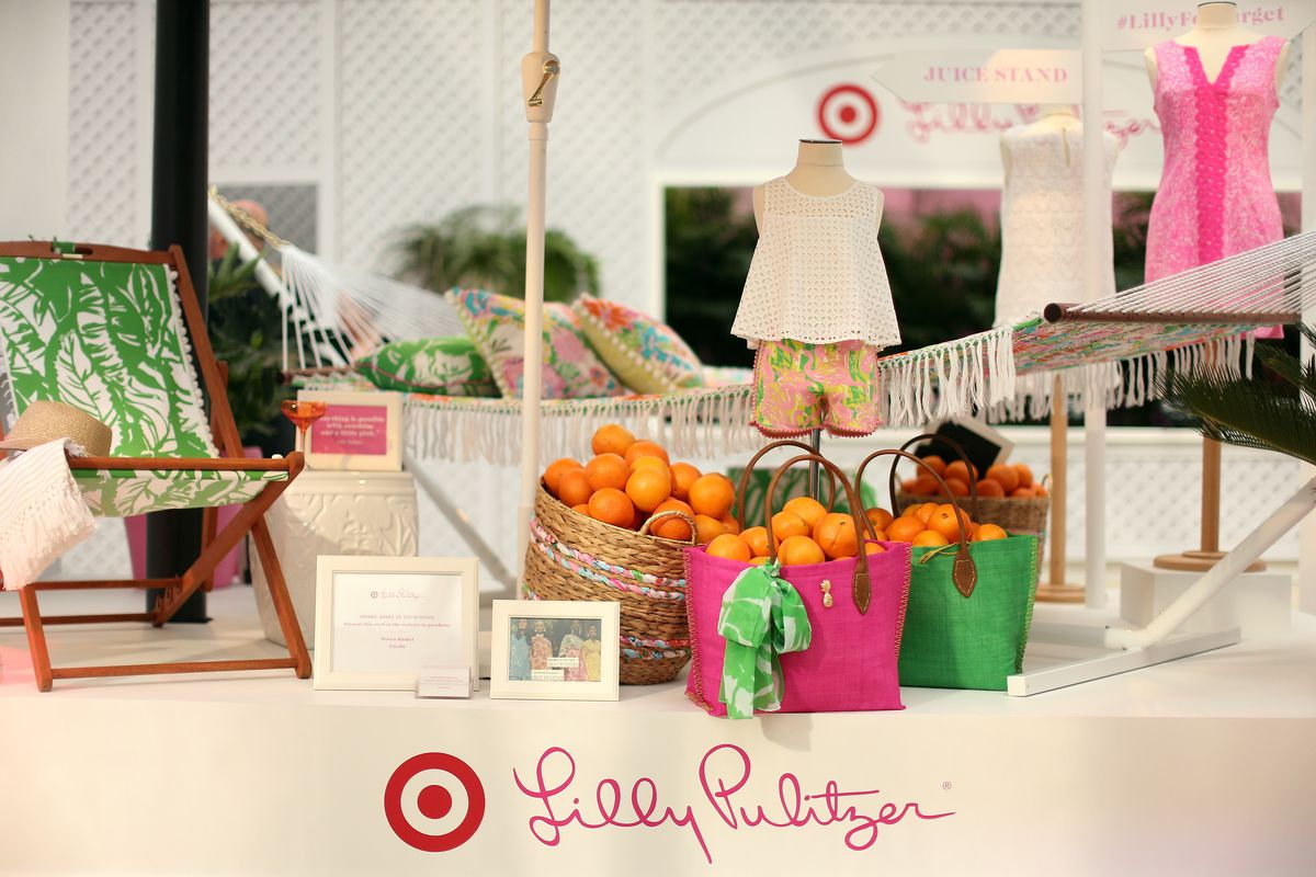 Lilly Pulitzer-designed products for Target stores, including handled bags, pillows, and picture frames.