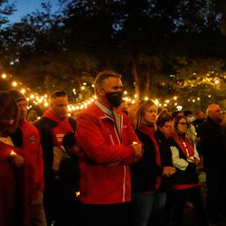 Members of the University of Utah community remember the life of slain student-athlete Aaron Lowe during a candlelight vigil on Wednesday, Sept. 29, 2021 at University of Utah in Salt Lake City.