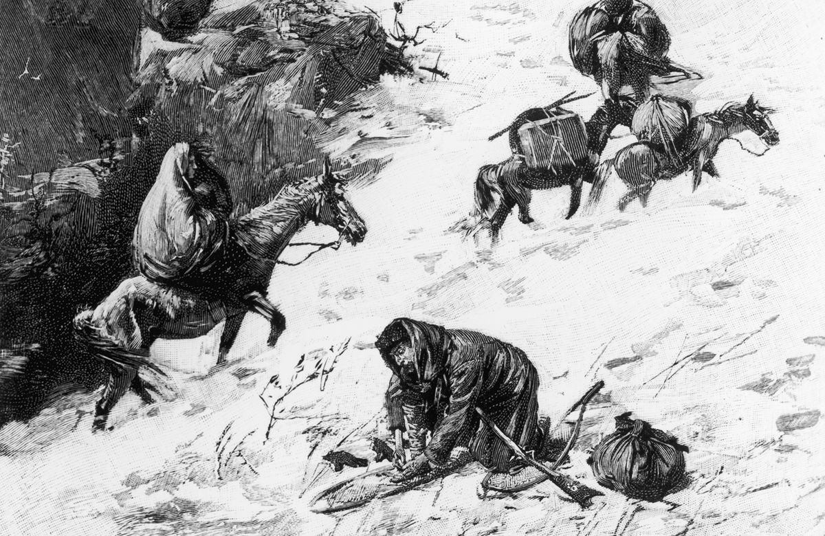 An illustration depicting the desperate journey of the Donner party.