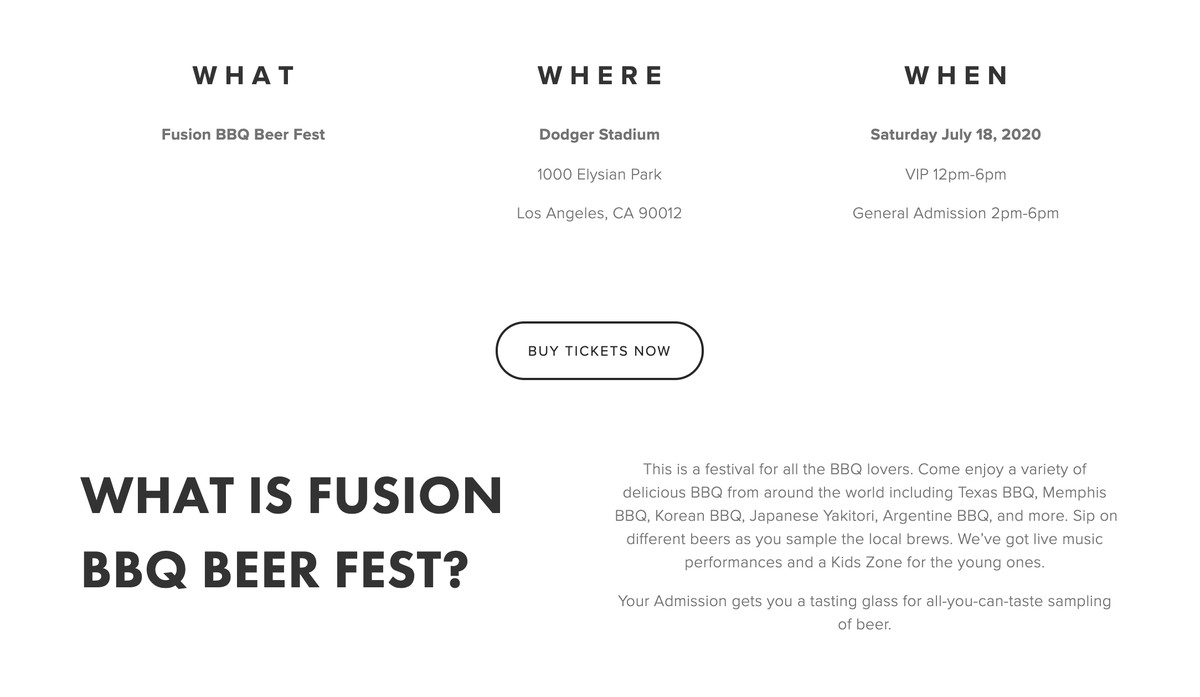 A screenshot of a website for a barbecue event, showing dates.