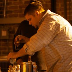 Mixologist Steven Wilshire mixing drinks at the Patron Secret Dining Society, New Orleans.