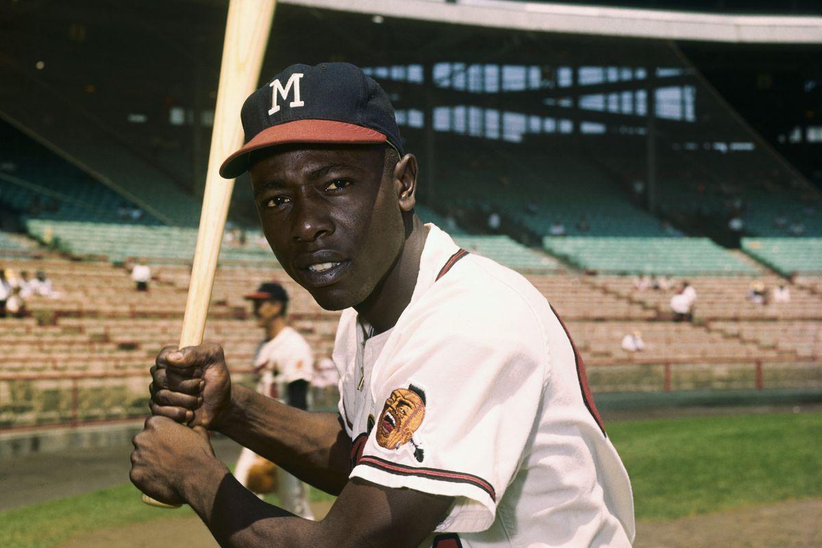 Hank Aaron of the Milwaukee Braves Holding Bat