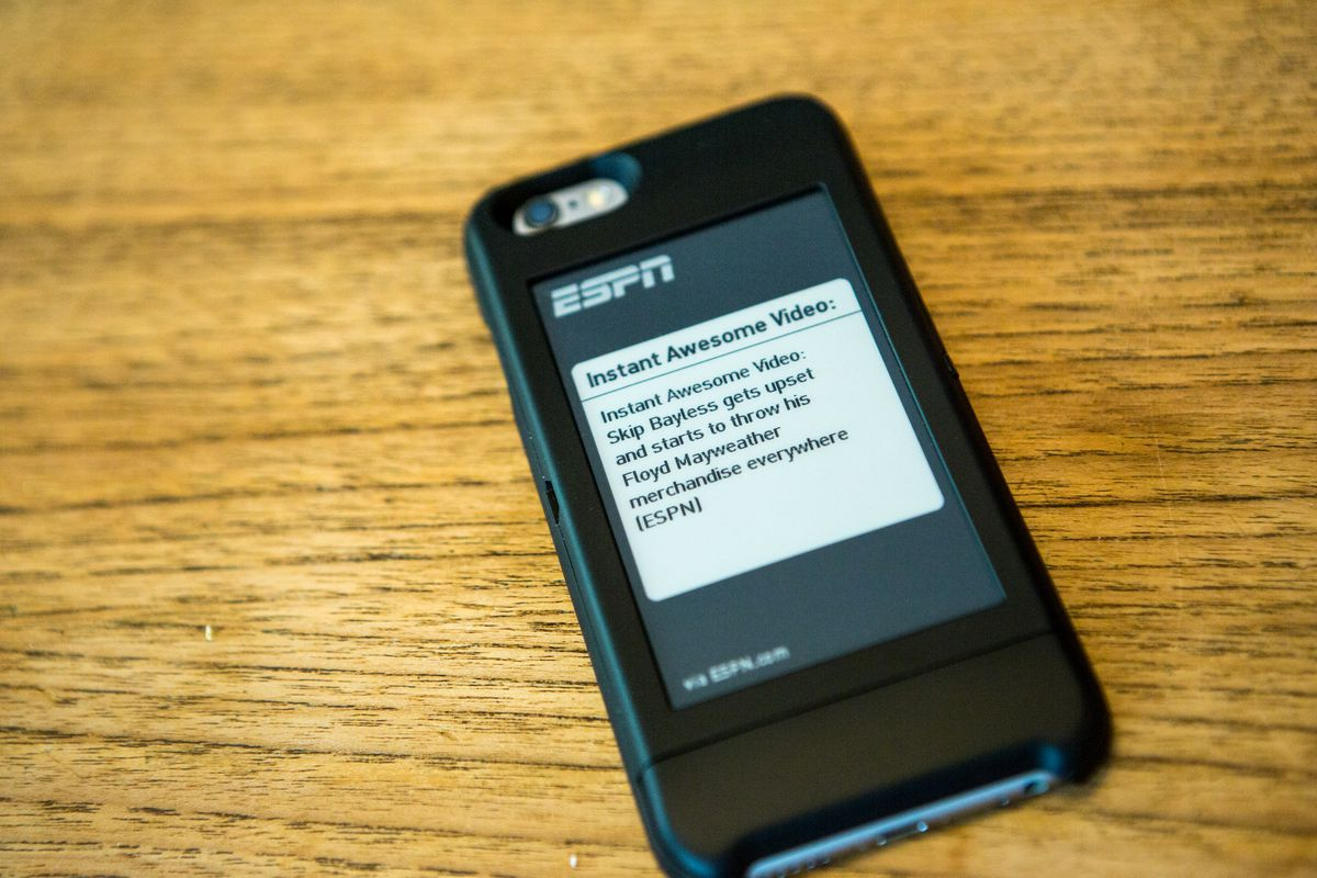 An ESPN update on the PopSlate case's screen