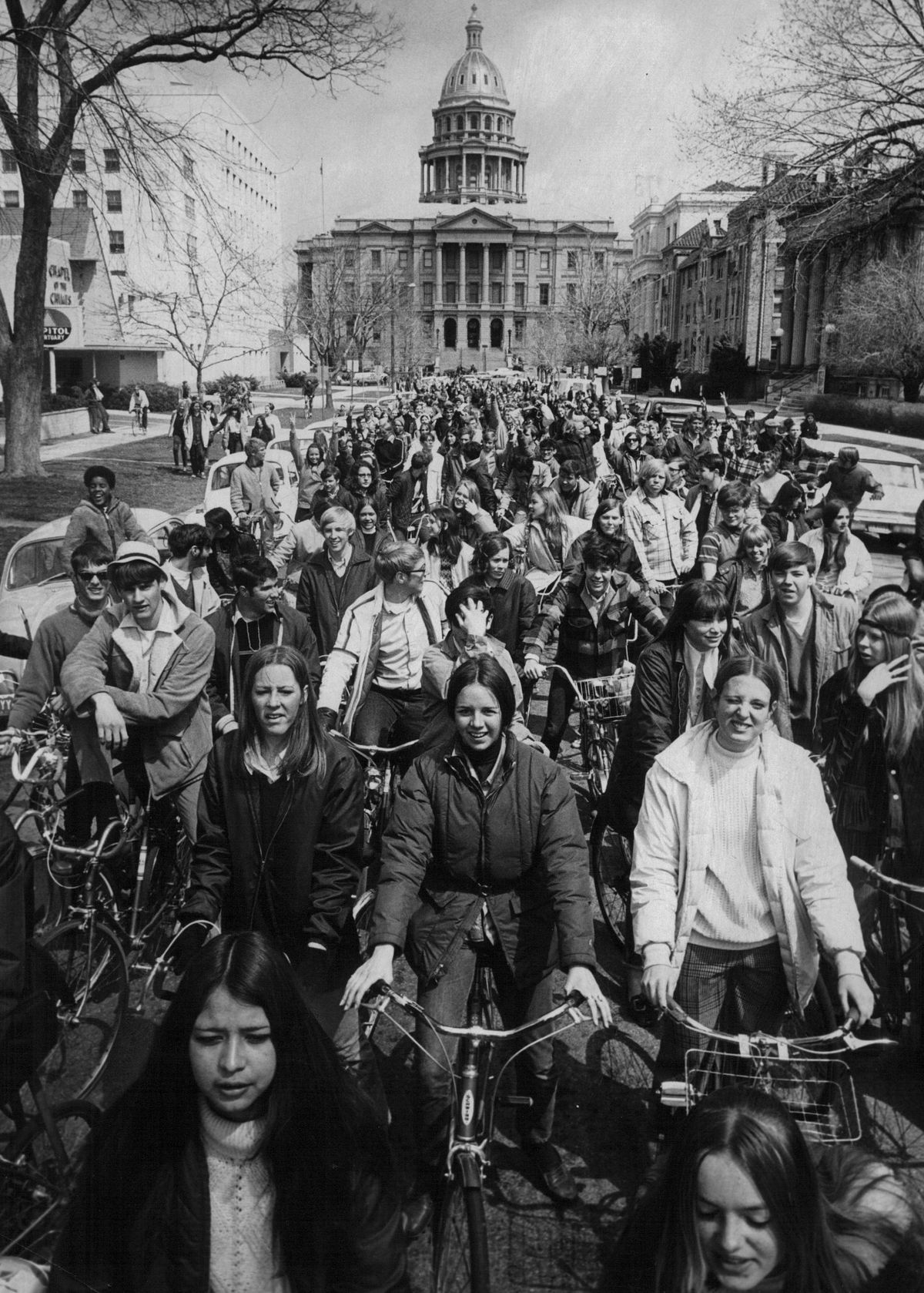 APR 22 1970, APR 22 1973, SEP 23 1974; Bicyclists Demonstrate Near State Capitol During 1970 Earth D